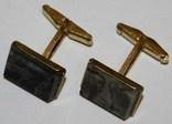 3.Запонки латунные с камнем (змеевик) СССР, фото №3
