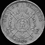 5 франків 1870 р. ІІ Наполеон ІІІ, срібло photo 1