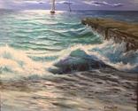 Морской пейзаж. Два паруса одиноких. Масло, холст лен 65/80см