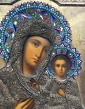 Икона «Смоленской Божией Матери, оклад серебро, 84 пробы, скань, зернь, эмали. фото 4