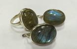 Серьги и кольцо с лабрадором. Лабрадор в серебре., фото №2