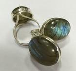 Серьги и кольцо с лабрадором. Лабрадор в серебре., фото №3