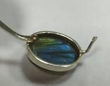 Серьги и кольцо с лабрадором. Лабрадор в серебре., фото №4