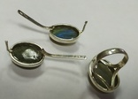 Серьги и кольцо с лабрадором. Лабрадор в серебре., фото №5