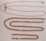 Две золотые цепочки , браслет и крестик ( всё 585-й пробы  ) ., фото №2