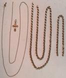 Две золотые цепочки , браслет и крестик ( всё 585-й пробы  ) ., фото №3