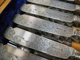 Старинный Столовый Набор для Рыбы на 12 персон ( Слоновая Кость , Штихель , Англия ), фото №5