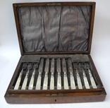 Старинный Столовый Набор на 12 персон ( Перламутр , Штихель , Англия ), фото №2