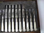 Старинный Столовый Набор на 12 персон ( Перламутр , Штихель , Англия ), фото №4