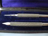 Старинный набор Карандаш и Перьевая ручка с золотым пером ( S. Mordan , Англия ), фото №6