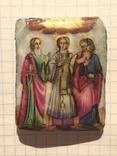 Финифть Икона Гурий, Самон и Авив, фото №2