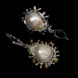 Серьги с жемчугом и хромдиопсидами, фото №3