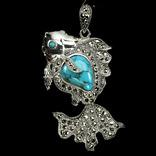 Авторское ожерелье с бирюзой и марказитами, фото №2
