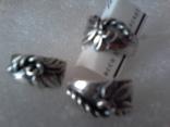 Набор серьги и кольцо р.18,  925 каштан.лист и тризуб, фото №2