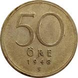 Швеция 50 оре 1948-серебро,С20, фото №2
