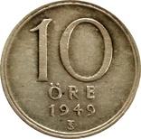 Швеция 10 эре 1949-серебро,С21, фото №2