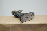 Немецкий солдат стреляет с автомата. Период ВОВ. Олово, раскрас, фото №10