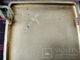 Серебряный портсигар 84 пробы позолота золотые накладки, фото №9