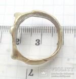 Перстень рогач, серебро в позолоте, фото №4