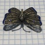Брошь серебро 84 проба филигрань 3 цвета эмали, фото №7