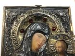 Икона Богородицы в серебряном окладе . 84 проба., фото №3