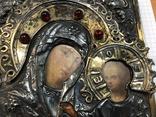 Икона Богородицы в серебряном окладе . 84 проба., фото №4