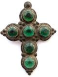 Крест большой с зелеными камнями 18-19 век (9_120), фото №2