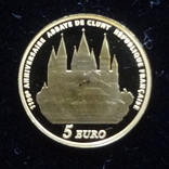 5 евро 2010 Франция 1100 лет Аббатству Клюни   золото 999  тираж 3861, фото №10