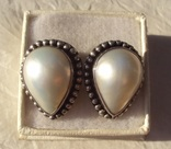 Клипсы серебро жемчуг., фото №2