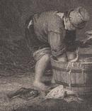 Старинная гравюра. 1836 годa. Дети рыбака.(18,5х12,5см.)., фото №3