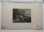 Старинная гравюра. 1836 годa. Дети рыбака.(18,5х12,5см.)., фото №7