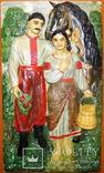 Гіпсовий барельєф картина панно Козак та дівчина закохані, фото №4