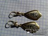 Серьги из серебра времён СССР с позолотой и рисунком, фото №2