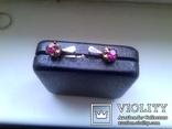 Серьги из серебра времен СССР с розовым камнем, фото №2