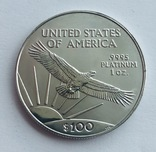 100 $ 1998 год США платина 31,1 грамм 999,5', фото №3
