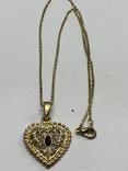 Золотистый кулон в виде сердца на цепочке, фото №3