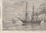 Старинная гравюра. 1858 год. Корабль с членами палаты общин. (41х29см.). фото 2