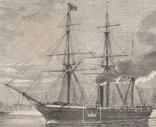 Старинная гравюра. 1858 год. Корабль с членами палаты общин. (41х29см.). фото 3