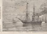 Старинная гравюра. 1858 год. Корабль с членами палаты общин. (41х29см.). фото 4