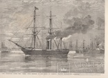 Старинная гравюра. 1858 год. Корабль с членами палаты общин. (41х29см.). фото 11