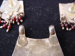 Набор серьги и подвес из Индии Ручная работа Серебро и гранаты, фото №4