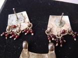 Набор серьги и подвес из Индии Ручная работа Серебро и гранаты, фото №5