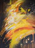 """Абстракція """"Чорний-оранжевий"""" (100х70 олія) Ю. Смаль"""