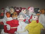 Старинные перчаточные куклы кукольный театр 13шт опилки СССР, фото №2