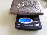 """Сюжетный серебряный портсигар 84* """" Поцелуй Тамары демона """", фото №11"""