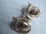 Серьги  серебро  925пр.   золото - 375пр.   вес - 10,4г, фото №5