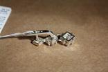 Серебряные серьги с золотом и фианитами, фото №5