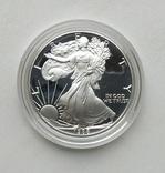 США 1 долар 1988 р. Срібло. PROOF, BOX. Крокуюча Свобода., фото №4