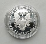 США 1 долар 1988 р. Срібло. PROOF, BOX. Крокуюча Свобода., фото №8