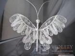 Бабочка филигрань серебряная нить ручная работа, фото №6